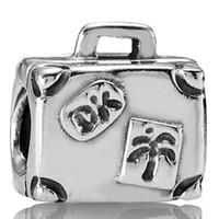 european charm bracelet - 925 Sterling Silver Suitcase European Floating Charm Beads for DIY Bracelet Charms