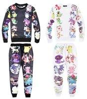 Cheap new 2015 men women's sport jogging suits print emoji Pokemon fashion tracksuits sweat shirt + pants 2 pcs clothing set joggers