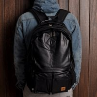 Wholesale male Boy s black PU leather all match computer compartment backpack Japanese backpack bag outdoor Traval double shoulder bag