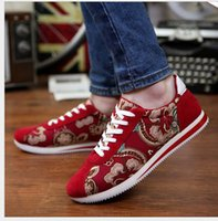 velcro - spring and autumn new man canvas with velcro low top lace up shoes causal sneaker shoes floral A11