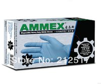 washing powder - powder free Textured Ambidextrous Disposable Gloves ammex thickening durable blue nitrile glove food gloves