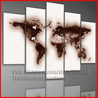 Cheap Framed 5 Panel Large World Map Painting Canvas Art Wall Pictures for Living Room Home Decor XD03130