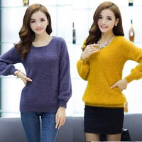 mink cashmere - Lantern Sleeve Longhaired O Neck Mink Cashmere Pullover Sweater For women Winter Fashion Knitting Colors Cashmere Outwear ZH026