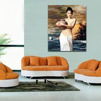 Wholesale Sexy Nude Girl Holding The Pottery Simulation Painting Art Painting Wall Decoration Oil Painting Print on Canvas
