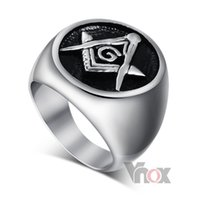 Wholesale Cool men ring for party stainless steel Masonic rings jewelry black casting wedding rings for men