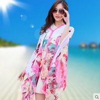 Wholesale Grace Hot Sale poncho sarong scarfs Colorful Floral Print Beach Cover Up New Women Summer beach sarongs Unique