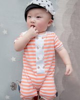 Cheap Newborn Romper Summer Boys Girls Casual Orange Blue Cotton Clothes Baby Button Climb Clothing Infant Striped Short Sleeve Jumpsuit I4469