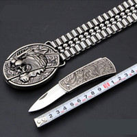 animal hides - Tiger buckle belt Hot sale stainless steel chain waist band Security check ok knife hide men waistband
