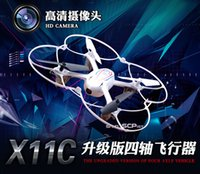 Cheap SYMA X11C 2.4G Remote Control Toys 4CH 6Axis RC Quadcopter Drone UFO RC Helicopter 2.4 HGz Helicopter with HD Camera Flash Lights