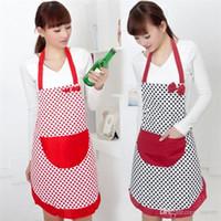 Wholesale New Arrivals Women Apron Kitchen Restaurant Cooking Cleaning Tool Cute Pockets Bowknot Cotton linen JA8
