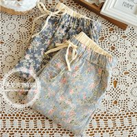art jeans - fashion fresh Japanese Forestry small floral art print jeans pants pencil pants pantyhose feet