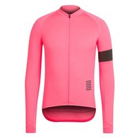 Wholesale Rapha Long Sleeve Cycling Jerseys Pink Durable Perspiration Breathable Cycling Clothing Men Cycling Jerseys