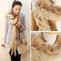knitting fur scarf - NEW fashion raccoon fur scarf warm winter wool scarf knitted mink scarf upscale clothing accessories WJ3011