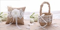 Wholesale Rustic Wedding Hessian Burlap Lace Ring Pillow Flower Girl Basket Set Party Favors