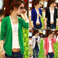 Wholesale Women Candy Color Irregular Hem Long Sleeve Cardigan Knit Sweater Blouse Tops Tonsee