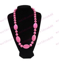 Wholesale 2015 MIX COLOR Brand New Infant Teething Necklace FDA Silicone Baby Teethers Baby Chewlry Silicone Jewelry Necklaces