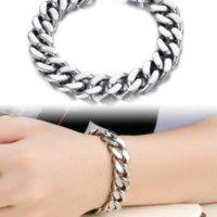 bicycle chain width - PUNK Biker L STAINLESS Steel Mens Bracelet Bike Bicycle Chain Bracelet mm thicker width Jewellery