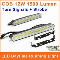 1 LED White 12V COB LED DRL Daytime Running Light With Trun Signal Strobe 99 Chip 12W 12V 6500k 200*24mm Car Auto Driving Lamp Fog DRL025