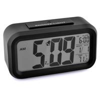 Wholesale Digital Led Alarm Clock LCD Screen Mini LED Projector LED Desktop Desk Clock W Snooze Blue Backlight Calendar orologio sveglia