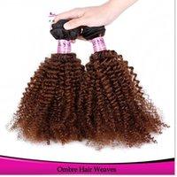Cheap HOT kinky curl bundles ombre blonde hair extensions #1b 30 tight curly virgin Brazilian hair human weave weft brazilian afro kinky