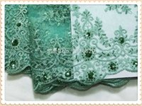 aqua colored flowers - Top selling gorgeous sequins and flower pattern African organza lace fabric faddish noble aqua green french lace for party dress