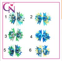 double ribbon - 6 styles New Cinderella Series Barrettes Neon Grosgrain Bows on double prong clips Baby Hair bow ribbon bowknot hairpin Hair Clips00503