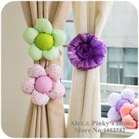 Wholesale Korean Curtain Fabric Flowers Lace Curtain Straps Tied Roses Sunflowers Curtain Grommets