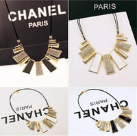 Wholesale Statement Necklaces Geometric Leather Rope Drip Diamond Necklace South Korea Collarbone Chain Female Short Necklace