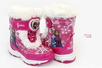 anna boots - FROZEN children casual boots ELSA ANNA PU waist thick warm boots Slip bottom waterproof cotton boots yards baby boots pair