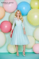 aqua long prom dresses - 2016 Tea Length Bridesmaid Dresses for Cheap Aqua Lace Ronald Joyce Short Prom Party Gowns Long Sleeve Wedding Guest Party New