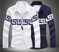 Wholesale shirt men new mens retro shirts long sleeve shirt white navy blue plus size M to XL casual shirt camisas hombres