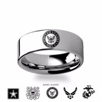 air force wedding - new mm Military Symbol Logo Engraving Flat Polished Tungsten Ring Army Coast Guard Navy Marines Air Force size
