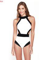 Cheap Sexy Black And White One Piece Swimsuit 2016 Women Swimwear Patchwork Bandeau Monokini Swimsuit High Waist Swimming Suit Back Cut SV017299
