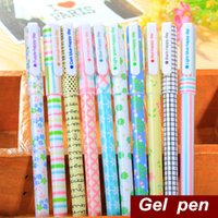 stationery and office supplies - 5 set Color Gel pen Flower and Plaid design pen for writing New Stationery Caneta gift Office school supplies