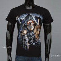 Cheap Death Reaper 3d Casual Men T-shirts Novelty Fashion Short Sleeve Skull Big Size Man t Shirt Fuck You Forefinger Up