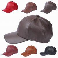 Wholesale 3PCS Women Men PU Leather Adjustable Baseball Caps Outdoor Casual Sports Hats Winter Windproof Caps Style Choose EOZ