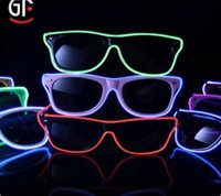 Wholesale 30pcs EL Led glasses as Wedding Christmas Holiday Rave Costume Party Gift Bule Green Yellow Pink Red Purple Light