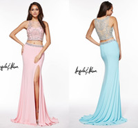 art websites - 2016 Spring Two Pieces Evening Dresses Mermaid Sheer Neck Crystal Beaded Sexy Side Slit Formal Prom Gowns Wear Custom Made Online Website