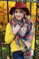 Wholesale 10pcs women s shawl winter keep warm cashmere blanket scarves Oversized Tartan Fringed Scarf