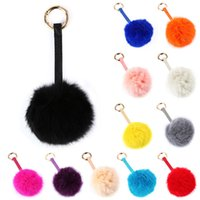 Wholesale New Arrivals Handbag Charm Key Ring Car Cell Phone Keychain Genuine Rabbit Fur Ball Alloy Cute Fashion GA18