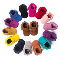 Wholesale 3 sizes New soft kids Matte Leather Baby Moccasins soft bottom child boys girls First Walkers fringe bebe infant toddler shoes M