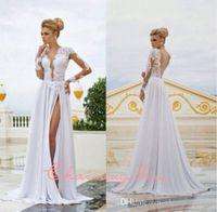 Cheap 2015 Sexy Deep V Neckline Backless Lace Appliques Chiffon Summer Beach Wedding Dresses Split Front Long Sleeve Sheer Beach Bridal Gowns