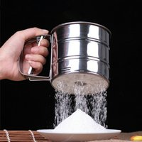 Wholesale Newest Stainless Steel Mesh Flour Sifter Mechanical Baking Icing Sugar Shaker Sieve Tool Cup Shape drop shipping