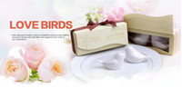 Wholesale Love Birds In The Window Ceramic Salt Pepper Shakers Wedding Favor For Party Gift with retail gift box