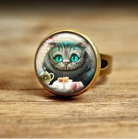 alice engagement rings - RC104 Alice in Wonderland ring Cheshire Cat Jewellery Vintage Bronze Humour Jewelry Gift Handmade Keepsake glass cabochon
