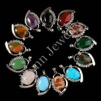 amulet pendants - Natural Gem Stone Oval Cabochon Shiny Rhinestones Reiki Pendulum Pendant Charms Amulet Women Fashionable Jewelry Mix