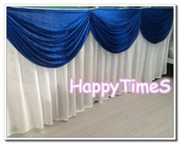 Wholesale 5pcs White Table Skirt With Royal Blue Swags Luxury Wedding Table Decorations With Metal Clips Party Favors