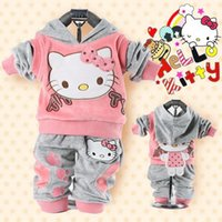 Wholesale Retail baby piece suit set tracksuits Girl s Hello Kitty clothing sets velvet Sport suits hoody jackets pants set NEW