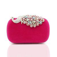 Wholesale Fashion Crystal Diamond Handbag Evening Bag Purse Elegant Peacock Clutch FCI