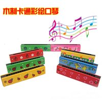 Wholesale 2015 Ladybirds Hand Peach Heart Children Wood Harmonicas Cartoon Animals Colorful Child Musical Instruments HX